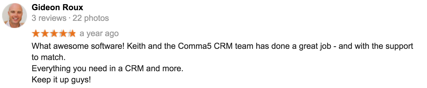 Review from Gideon for Comma5 CRM